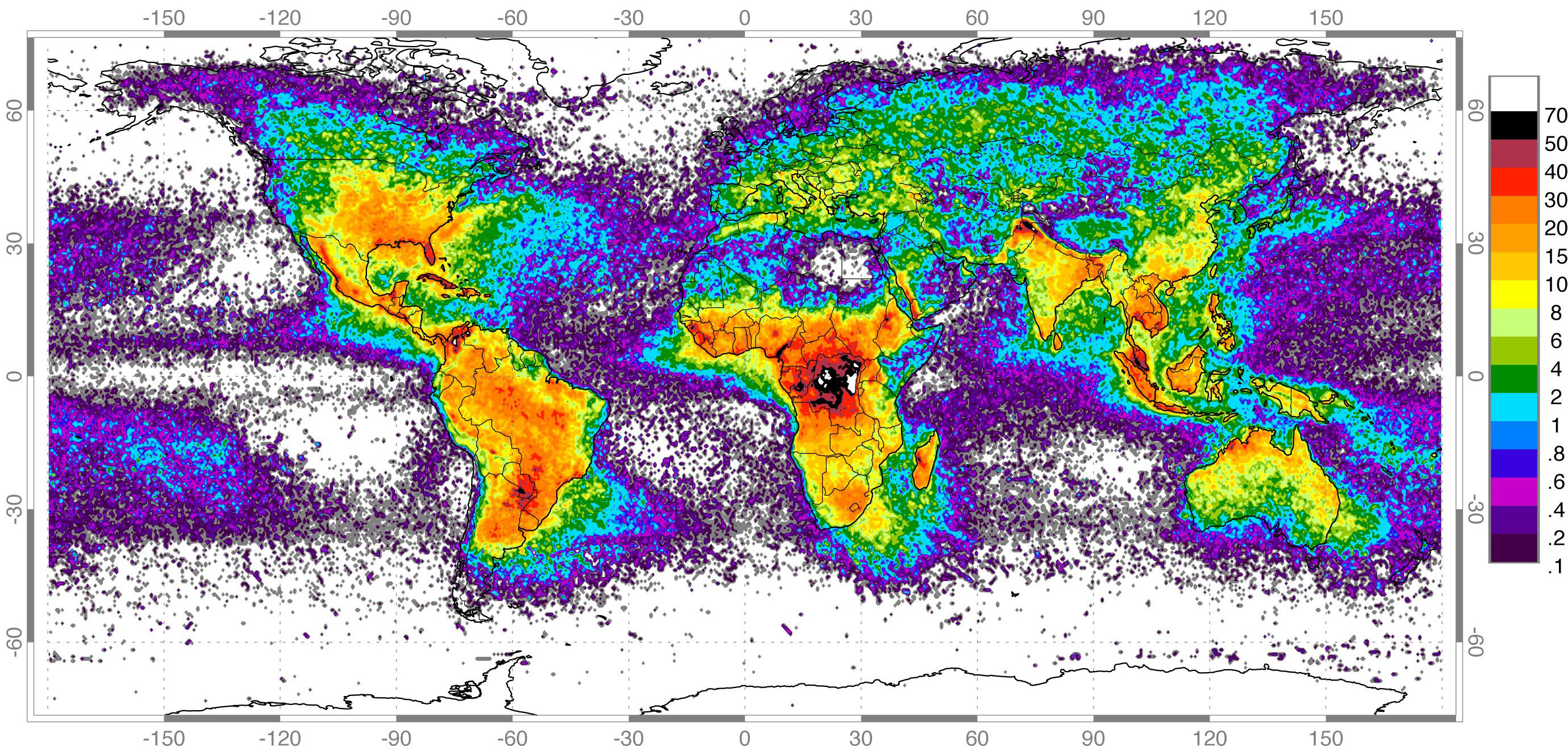 Summary of global lightning detected with the LIS instrument