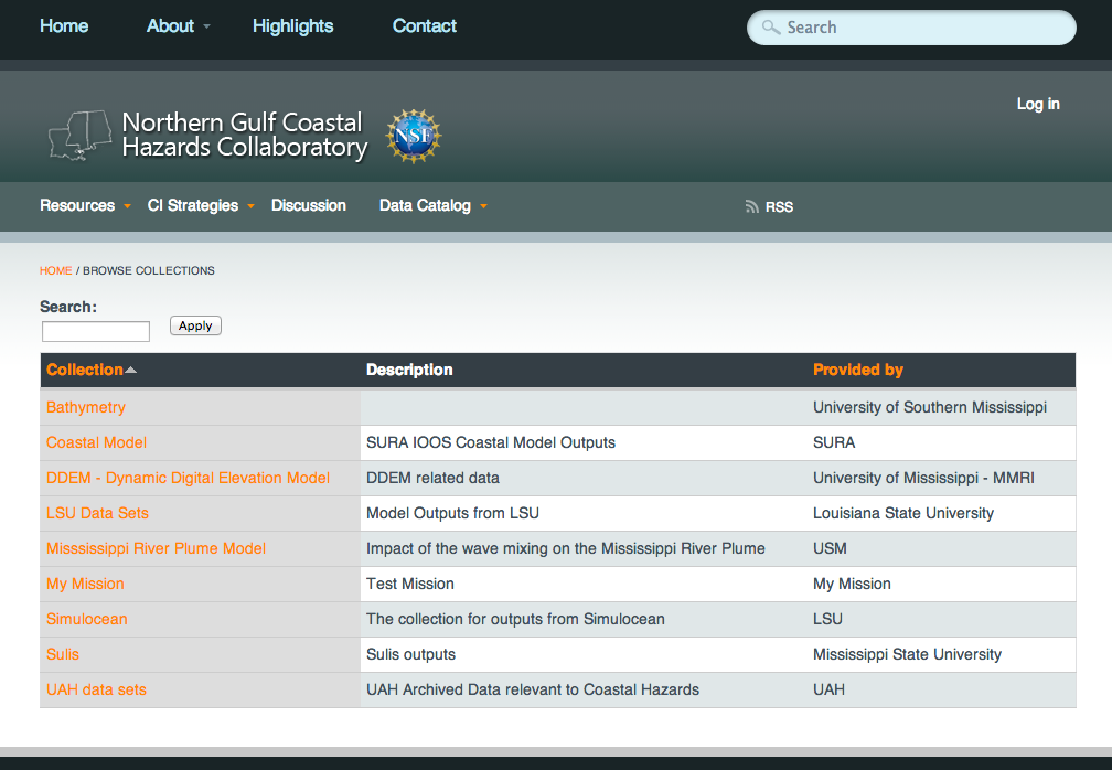 NGCHC Data Catalog Interface