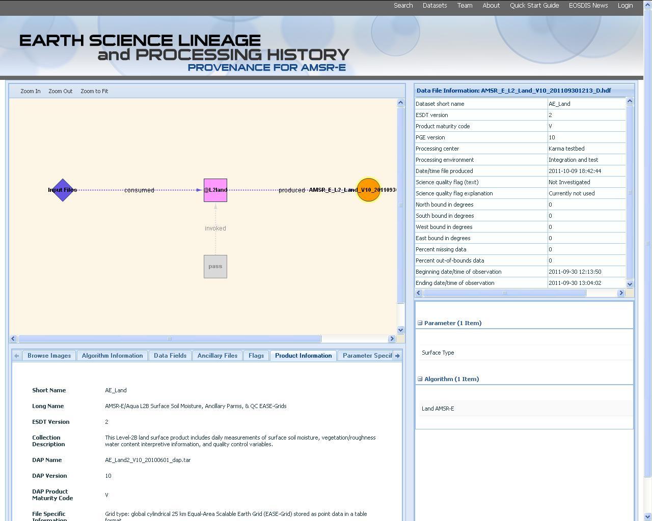 Screenshot of Provenance browser