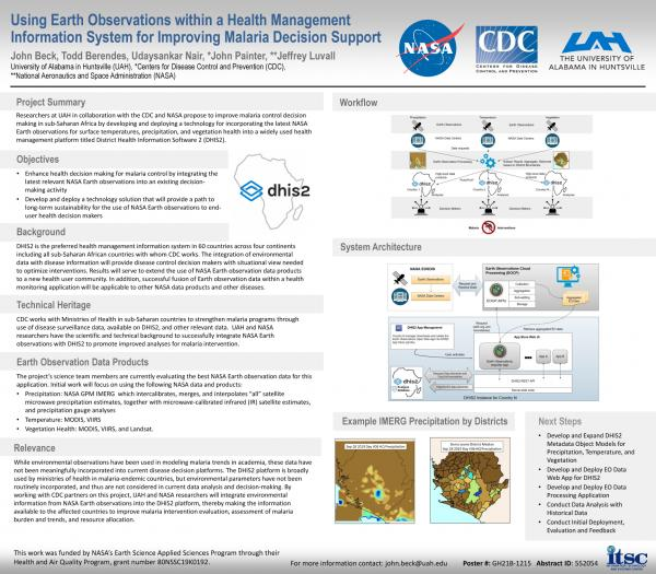 Using Earth Observations within a Health Management Information System for Improving Malaria Decision Support (AGU Fall Meeting 2019)