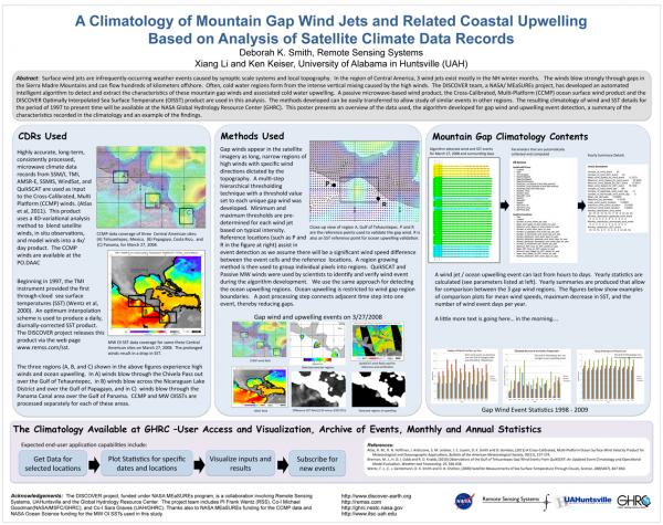 Climatology of mountain gap winds and coastal upwelling poster