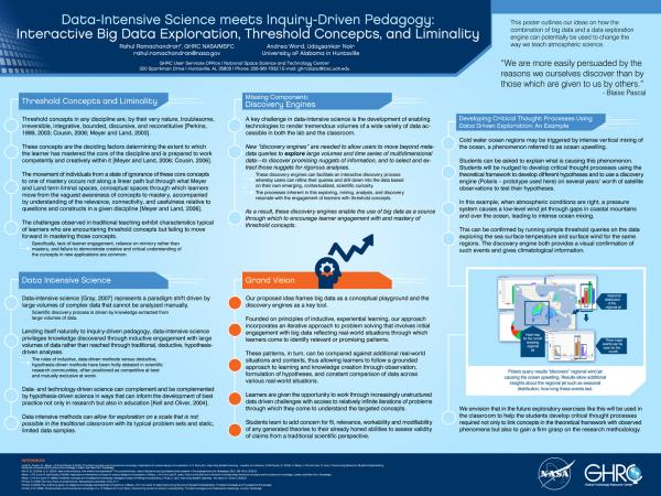 Data-Intensive Science meets Inquiry-Driven Pedagogy: Interactive Big Data Exploration, Threshold Concepts, and Liminality (AGU 2014)