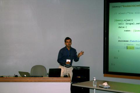 Ajinkya Kulkarni making a presentation