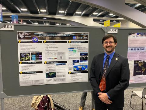 Geoffrey presents a lightning poster at AGU 2019