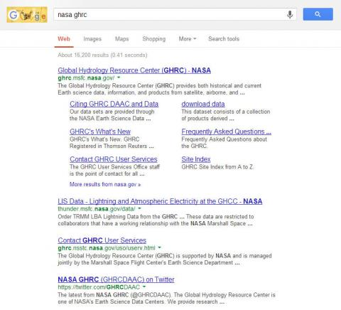 """Google search for """"NASA GHRC"""""""