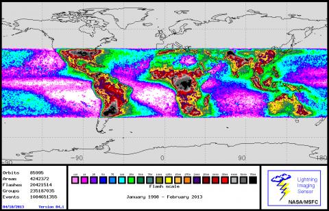 Global lightning strikes from January 1998 to present day from the NASA/MSFC Lightning Imaging Sensor