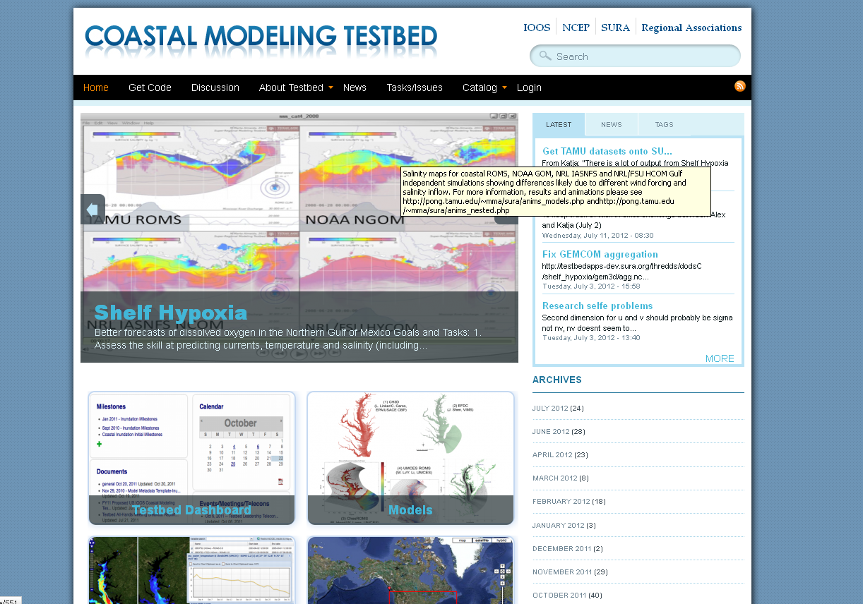 Coastal modeling testbed site
