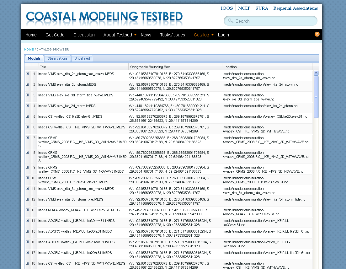 Data catalogs are available on the testbed site