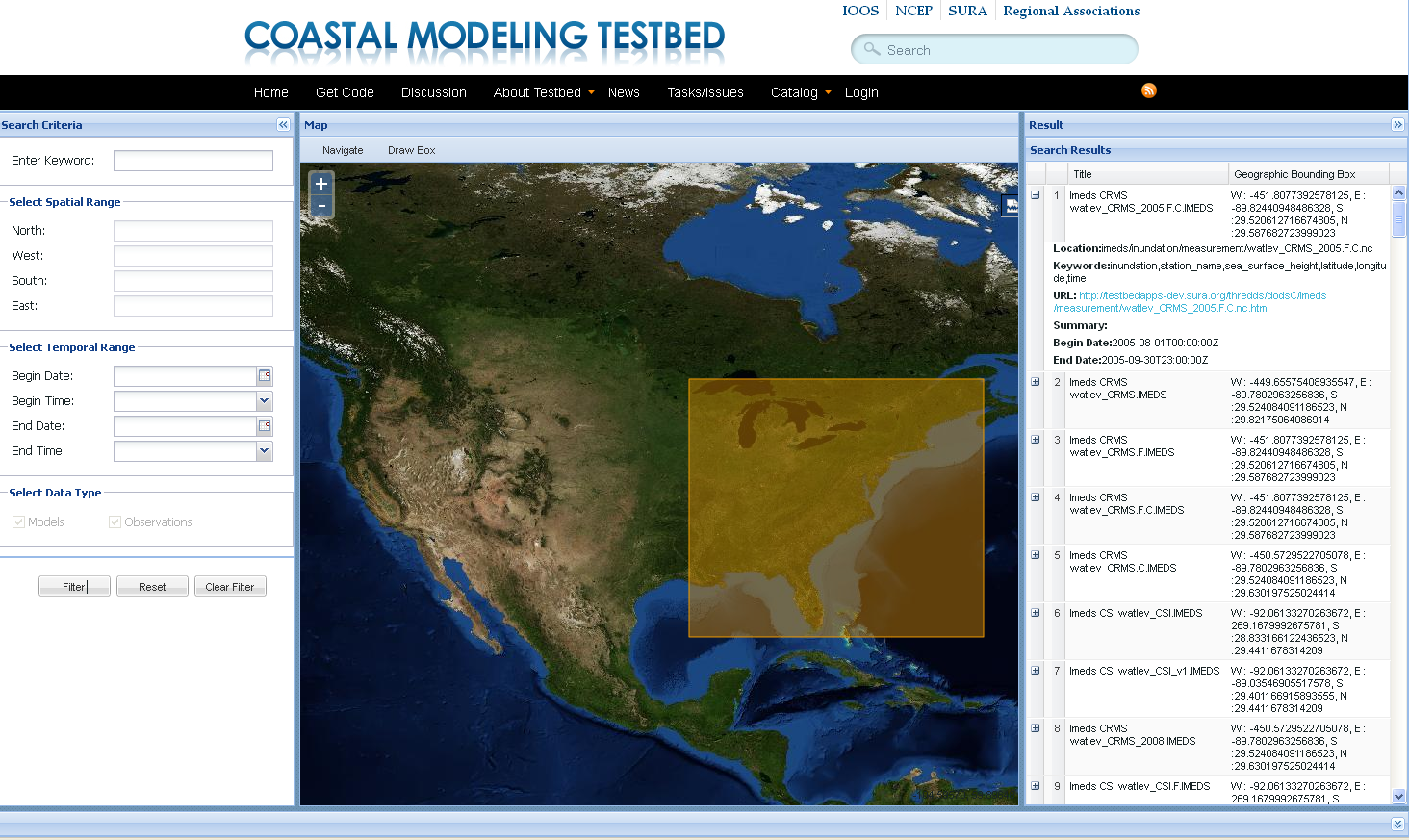 The testbed site allows for selection of distinct regions