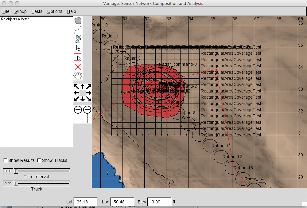 Display of simulation for sensor areas and radars